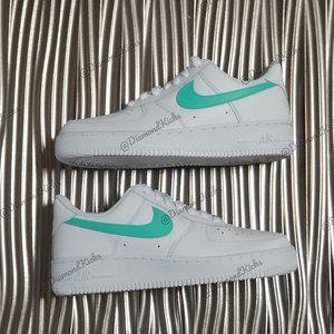 Custom Nike Air Force 1 Custom White Turquoise